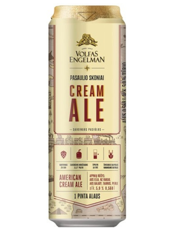 Вольфас Энгельман ПОСАУЛИО СКОНИАЙ КРЕМ ЭЛЬ / Volfas Engelman Posaulio Skoniai Cream Ale 0,568л. алк.5,5% ж/б.