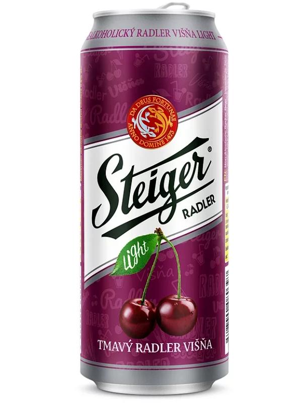Штайгер Радлер Висна Тмаве Лайт (вишня) б/а / Steiger Radler Tmavy Nealko Light 0,5л. ж/б.