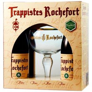 Пивной набор Траппист Рошфор 8 / Trappistes Rochefort 8 (0,33л.4бут.+1бокал)