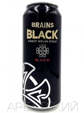 Брэйнс Блэк с азотной капсулой / Brains Black with nitrogen capsule 0,44л. алк.4,1% ж/б.